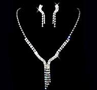 bellissima collana con strass ceco matrimonio placcata in lega da sposa e gioielli orecchini set