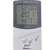 Digital LCD Outdoor / Indoor Temperatur Hygrometer Thermometer mit Uhr ta368