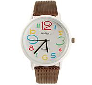 koera estilo pu correa de cuero de moda cute estudiantes dama reloj de pulsera - marrón