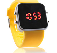 Unisex Red LED Digital Jelly Yellow Silicone Band Wrist Watch