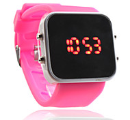 Silicone Band Women Men Unisex Jelly Sport Style Square Mirror LED Wrist Watch - Peach Red
