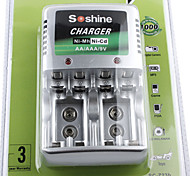 Chargeur de Piles Super-Rapide (Comppatible Piles AA / AAA / 9V Ni-MH / Ni-Cd)