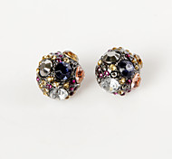 Stud Earrings Rhinestone Alloy Ball Rainbow Jewelry 2pcs