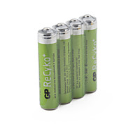 GP ReCyko+ 820mAh 1.2V Ni-MH Rechargeable AAA Batteries (4-Pack)