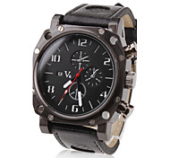 Men's Military Style Black Case PU Band Quartz Wrist Watch
