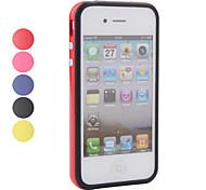 Housse en silicone cadre de pare-chocs pour iPhone 4, 4s (bouton en métal)