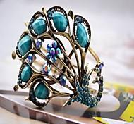pulsera de la turquesa del pavo real de las mujeres (diámetro interno: los 6.5cm)