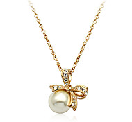 Lureme®Austrian Diamond  Bow Pearl Pendant Necklace