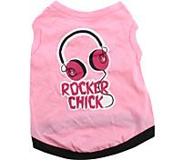 Rocker Chick Style Cotton Shirt for Dogs (Pink, Multiple Sizes Available)