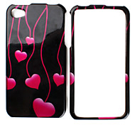 Red Heart Pattern Style Back Case and Bumper Frame for iPhone 4 and 4S (Black)