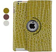 cassa della pelle del coccodrillo di stile dell'unità di elaborazione di cuoio con il basamento per ipad 2/3/4 (colori assortiti)