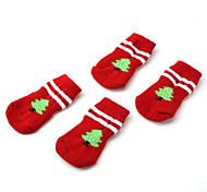 Weihnachtsbaum Stil Pfote Socken für Hunde (SL, rot)
