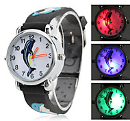 Children's Dolphin Style Silicone Analog Quartz Wrist Watch with Flashing LED Light (Black)