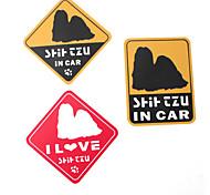 I Love My Shih Tzu Dog Style Car Stickers (3-Pack)