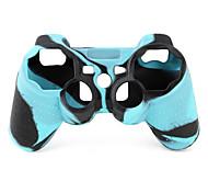 de protección de doble color de estilo funda de silicona para PS3 controlador (azul y negro)