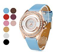 femmes style d'or boîte de montre en cuir PU analogique montre-bracelet à quartz (couleurs assorties)