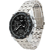 Men's Water-Resistant Black Dial Silver Alloy Band Quartz Analog Chronograph Wrist Watch