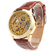 Men's Auto-Mechanical Gold Dial Brown PU Band Wrist Watch