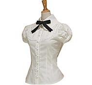 À manches courtes Coton Blanc Noir Cravat Sweet Lolita Blouse