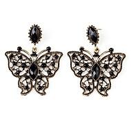 venta caliente pendientes mariposa estilo retro para mujeres (negro)