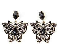 venda quente borboleta brincos estilo retro para as mulheres (preto)