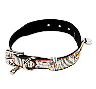Dog Collar Adjustable/Retractable / Rhinestone White / Pink PU Leather