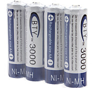 BTY AA 3000mAh Rechargeable Ni-MH Batteries (1.2V, 4-Pack)