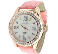 Femmes bracelet en cuir Montre analogique bracelet à quartz avec décoration rhinstone (Rose)