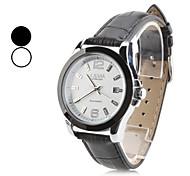 pu homens analógico relógio de pulso mecânico com calendário (preto)
