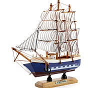 20x20cm Wooden Sailing Boat Desk Decoration (Random Style)