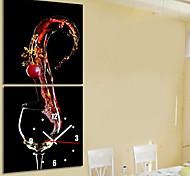 estilo moderno tema do vinho relógio de parede em conjunto tela de 2