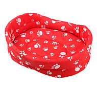 Verdickt Hund die Pfote Muster Pet Bed (Red, XS-XL)