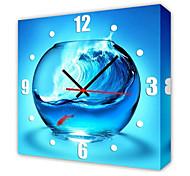 estilo moderno reloj de pared pecera en lienzo