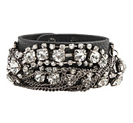 Z&X®  Zircon-Studded Wide Leather Bracelet