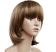 Capless Short Brown Straight Synthetic Wigs