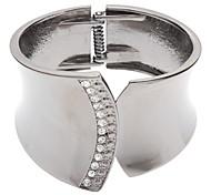 Z&X®  Gun Metal Color Glaze  Drawbench Studded with Diamonds Bracelet