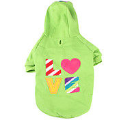 Dog Hoodie Green / Pink Spring/Fall Letter & Number / Hearts