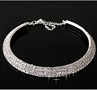 Women's Layered Diamond Necklace(Outer Diameter:11cm)Imitation Diamond Birthstone