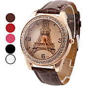 Women's Watch Luxury Diamond Eiffel Tower PU Band