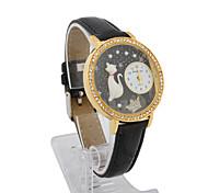 Couro Quartzo do movimento de mulheres da forma redonda de vidro com strass Dress Watch