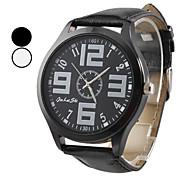 Semplice uomo PU Analog Design orologio da polso al quarzo (colori assortiti)