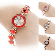 Frauen-Legierung Analog Quarz Armbanduhr (gold)