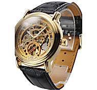 WINNER® Men's Auto-Mechanical Gold Dial Black PU Band Wrist Watch Cool Watch Unique Watch
