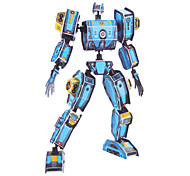 DIY Paper 3D Puzzle Blue Mechanization Soldier (83pcs, difficulty 4 of 5)
