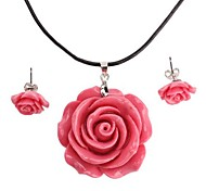 Rose Necklace Earrings Jewelry Set