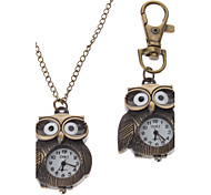 Unisex Owl Style Alloy Analog Quartz Keychain Necklace Watch (Bronze)