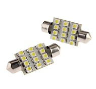39mm 1W 12x3528 SMD White Festoon LED Bulb for Car Dome/Map/License Plate Light (12V, 2-Pack)