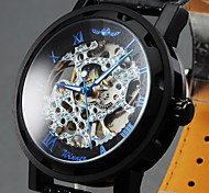 Men's Hollow Skeleton Manual Mechanical Leather Band Wrist Watch Cool Watch Unique Watch