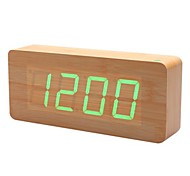 Khaki Wooden Design Green Light Decorative Desktop Alarm Clock Calendar Thermometer (100-240V/4xAA)