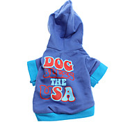 Dog Bless The USA Style French Terry Hoodies for Dogs(Blue,XS-L)